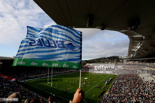 Blues fan show his support during the round 1 Super Rugby Aotearoa match between the Blues and the Hurricanes at Eden Park on June 14, 2020 in...