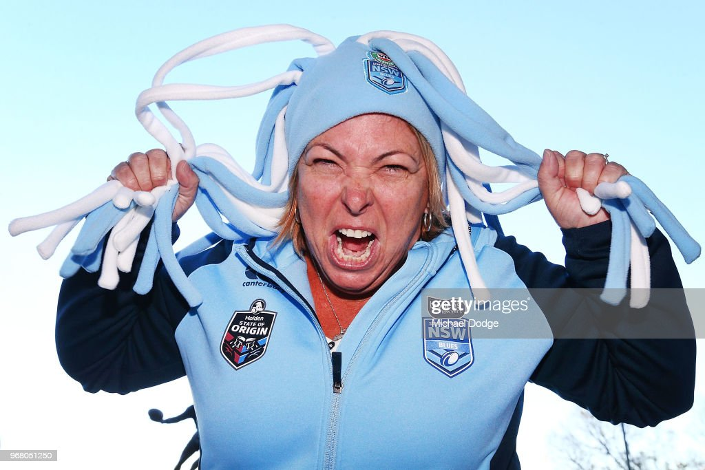A Blues fan shows her support during game one of the State Of Origin series between the Queensland Maroons and the New South Wales Blues at the Melbourne Cricket Ground on June 6, 2018 in Melbourne, Australia.