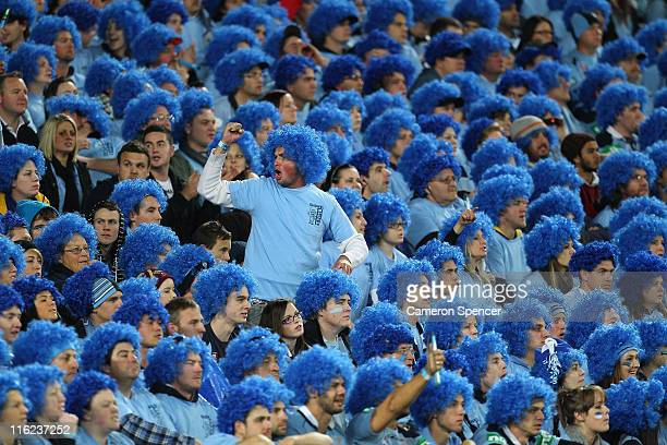 Blues fan shows his emotion during game two of the ARL State of Origin series between the New South Wales Blues and the Queensland Maroons at ANZ...