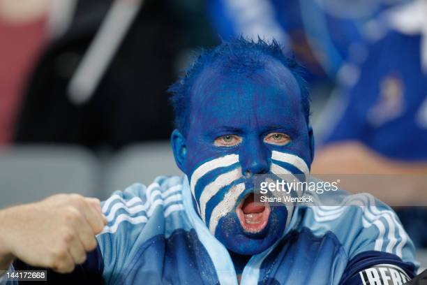 Blues fan supports his team during the round 12 Super Rugby match between the Blues and the Lions at Eden Park on May 11 2012 in Auckland New Zealand