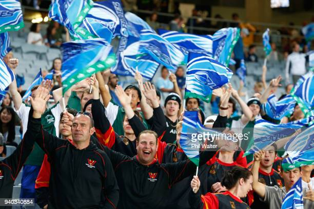 Blues fans before the round seven Super Rugby match between the Blues and the Sharks at Eden park on March 31 2018 in Auckland New Zealand