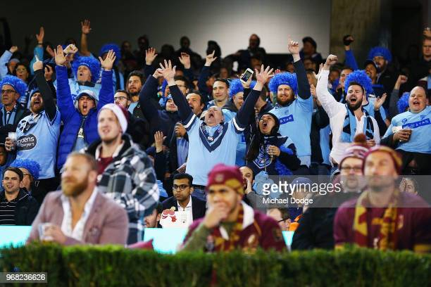 Blues fans celebrate a try during game one of the State Of Origin series between the Queensland Maroons and the New South Wales Blues at the...