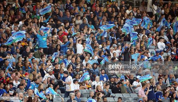 Blues fans celebrate during the round two Super Rugby match between the Blues and the Chiefs at Eden Park on March 2 2018 in Auckland New Zealand