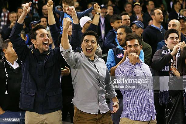 Blues fans celebrate the win during the round six AFL match between the Carlton Blues and the West Coast Eagles at Etihad Stadium on April 26 2014 in...