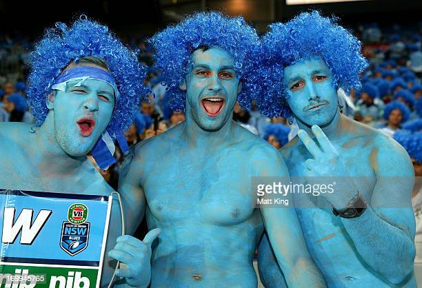 Blues fans show their support before game one of the ARL State of Origin series between the New South Wales Blues and the Queensland Maroons at ANZ...