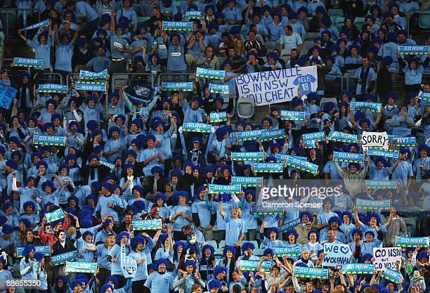 Blues fans show their support before game two of the ARL State of Origin series between the New South Wales Blues and the Queensland Maroons at ANZ...