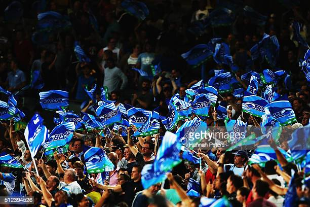 Blues fans show their support during the round one Super Rugby match between the Blues and the Highlanders at Eden Park on February 26 2016 in...