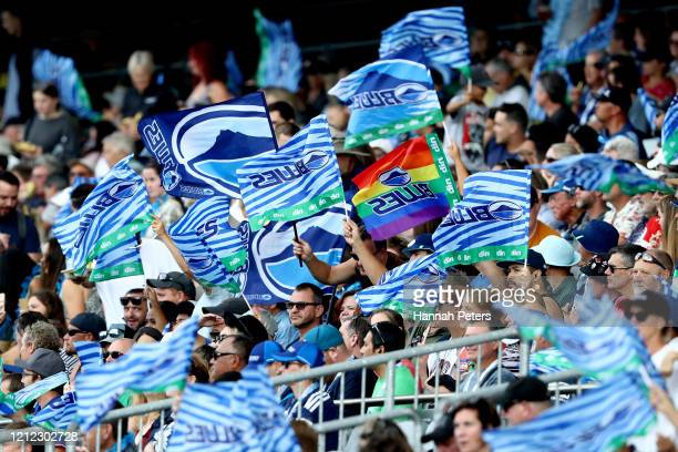 Blues fans show their support during the round seven Super Rugby match between the Blues and the Lions at Eden Park on March 14, 2020 in Auckland,...