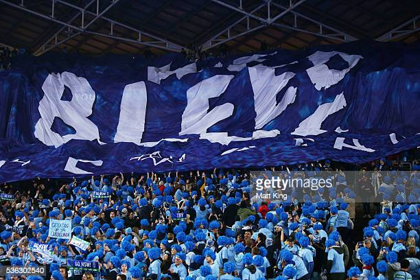 Blues fans support before game one of the State Of Origin series between the New South Wales Blues and the Queensland Maroons at ANZ Stadium on June...