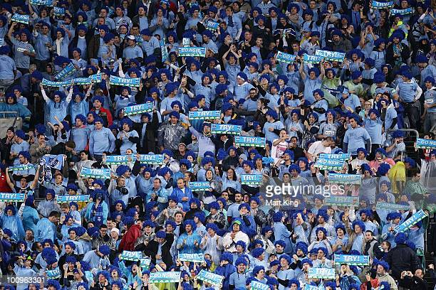 Blues fans support their team during game one of the ARL State of Origin series between the New South Wales Blues and the Queensland Maroons at ANZ...
