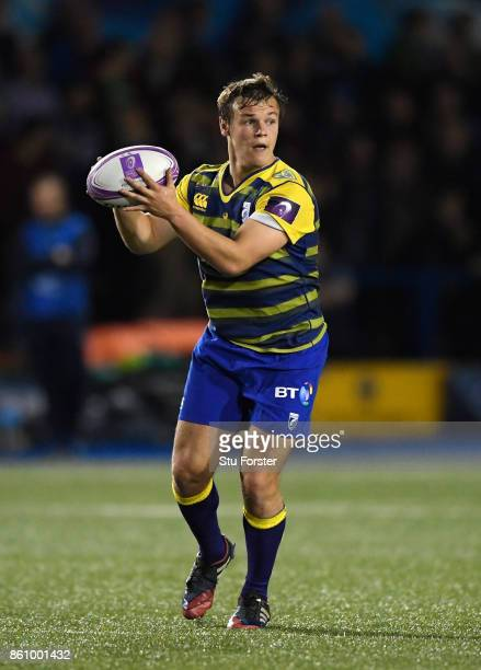 Blues fly half Jarrod Evans in action during the European Rugby Challenge CUP Match between Cardiff Blues and Lyon at Cardiff Arms Park on October 13...