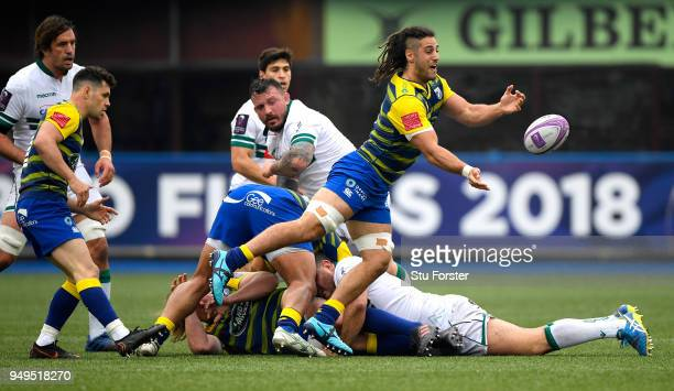 Blues forward Josh Navdi gets an attack started during the European Challenge Cup SemiFinal match between Cardiff Blues and Section Paloise at...