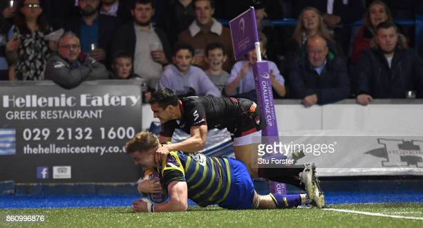Blues forward Macauley Cook touches down in the corner for the third try during the European Rugby Challenge CUP Match between Cardiff Blues and Lyon...
