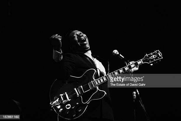Blues guitarist and singer BB King performs at the Newport Folk Festival in July 1968 in Newport Rhode Island