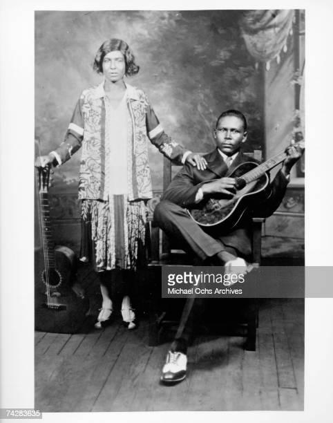 Blues guitarist and singer Memphis Minnie and her husband guitarist Kansas Joe McCoy pose for a portrait circa 1930