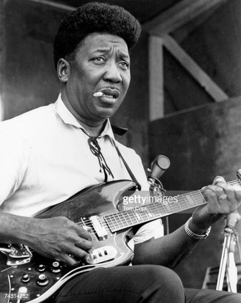 Blues Guitarist and singer Muddy Waters performs at the Ann Arbor Blues Festival in August 1969 in Ann Arbor Michigan