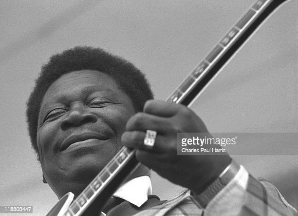Blues guitarist B. B. King performs live at the Alexandra Palace during the Capital Radio Jazzfest, on July 21, 1979 in London, England.