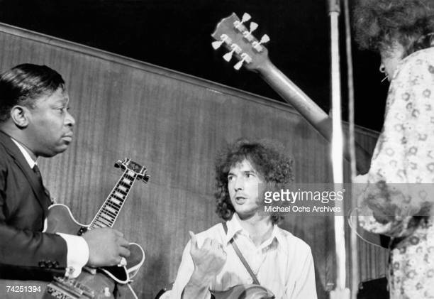 Blues guitarist BB King Eric Clapton and Elvin Bishop perform together onstage in 1967 in New York City New York