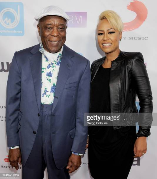 Blues guitarist Buddy Guy and singer Emeli Sande arrive at the NARM Music Biz Awards dinner party at the Hyatt Regency Century Plaza on May 9 2013 in...