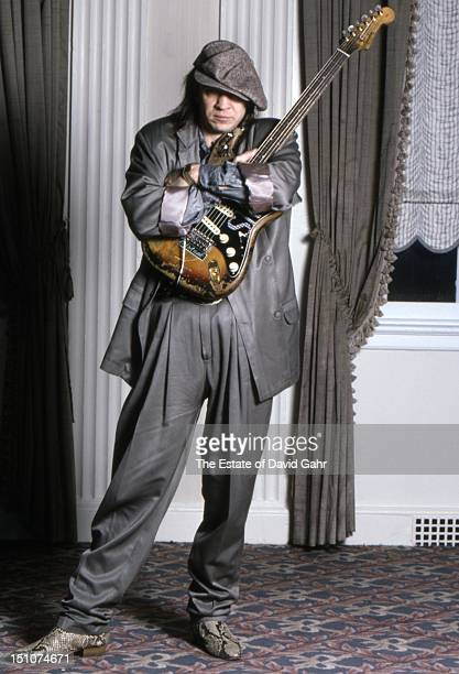 Blues guitarist Stevie Ray Vaughan poses for a portrait in February, 1987 in Boston, Massachusetts.