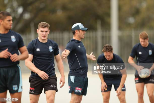 Blues head coach Brad Fittler speaks to players during the Emerging Blues and Future Blues Playing Camp at the NSWRL Centre of Excellence on December...