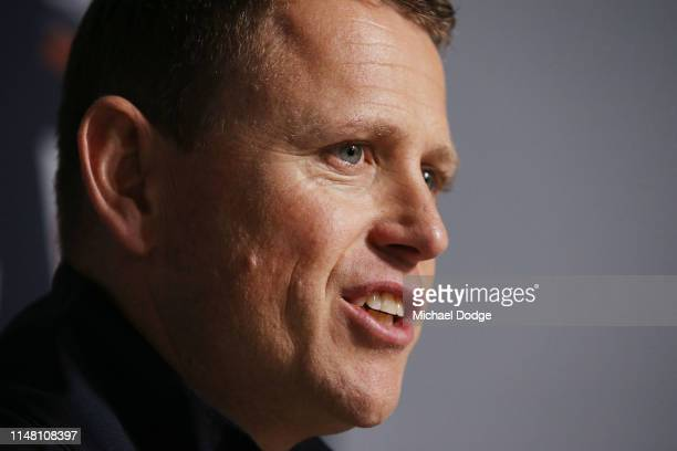 Blues head coach Brendon Bolton speaks to media during a Carlton Blues AFL media opportunity at Ikon Park on May 10 2019 in Melbourne Australia