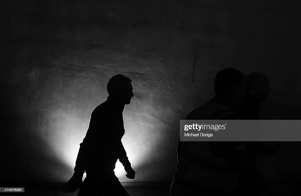 Blues head coach Michael Malthouse walks out during the round eight AFL match between the Geelong Cats and the Carlton Blues at Etihad Stadium on May 22, 2015 in Melbourne, Australia.