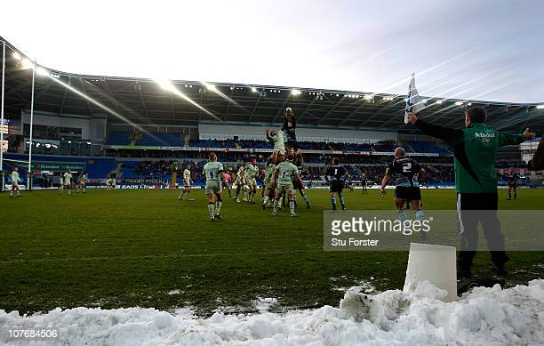 Blues hooker Gareth Williams delivers a lineout ball as snow lies pitch side during the Heineken Cup Pool One match between Cardiff Blues and...