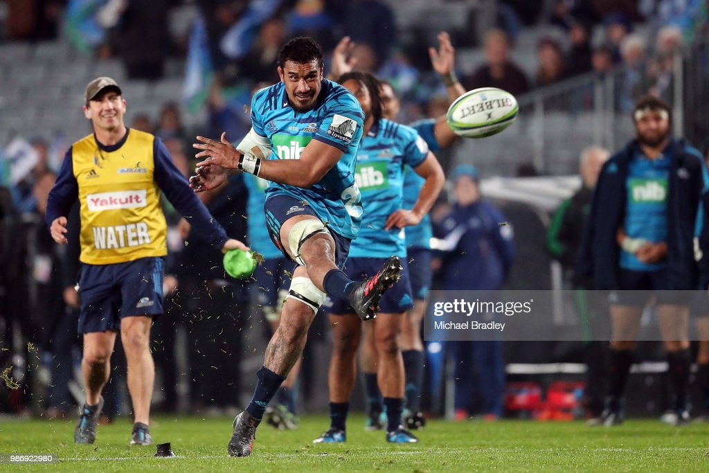 Blues Jerome Kaino attempts a conversion during the round 17 Super Rugby match between the Blues and the Reds at Eden Park on June 29, 2018 in Auckland, New Zealand.