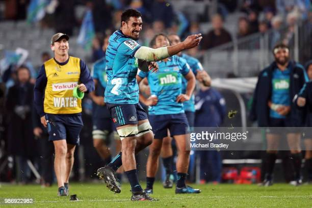 Blues Jerome Kaino attempts a conversion during the round 17 Super Rugby match between the Blues and the Reds at Eden Park on June 29 2018 in...
