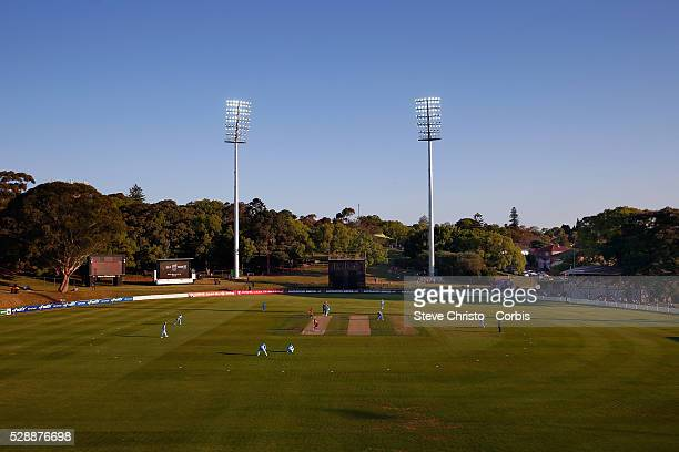 Blues Josh Hazlewood bowls the first ball to start the Blues fielding session against the Matador BBQ's OneDay Cup between New South Wales Blues and...
