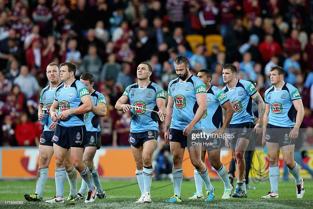 Blues leave the field after losing game two of the ARL State of Origin series between the Queensland Maroons and the New South Wales Blues at Suncorp Stadium on June 26, 2013 in Brisbane, Australia.