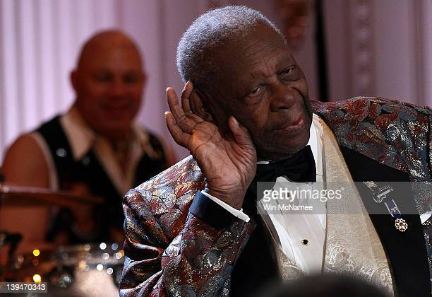 Blues legend BB King performs with an allstar cast at a White House event titled In Performance at the White House Red White and Blues February 21...