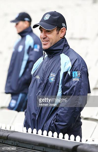 Blues legend Brad Fittler looks on during a New South Wales Blues State of Origin training session at the Melbourne Cricket Ground on June 16 2015 in...