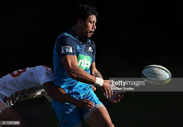Blues Melani Nanai passes the ball during the Super Rugby preseason match between the Blues and the Chiefs at Pukekohe Stadium on February 19 2016 in...