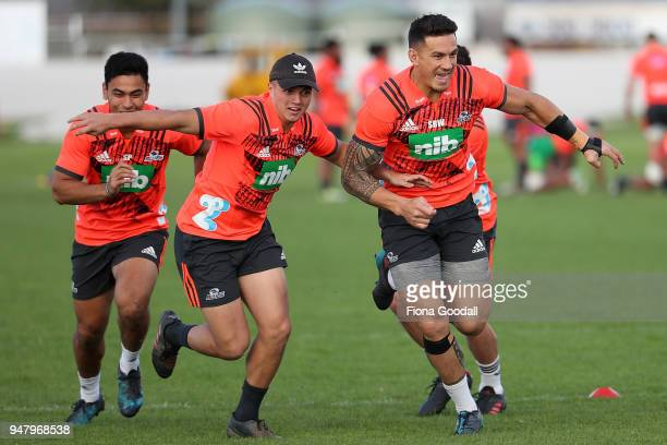 Blues mid field back Sonny Bill Williams makes a break during a Blues training session on April 18 2018 in Auckland New Zealand