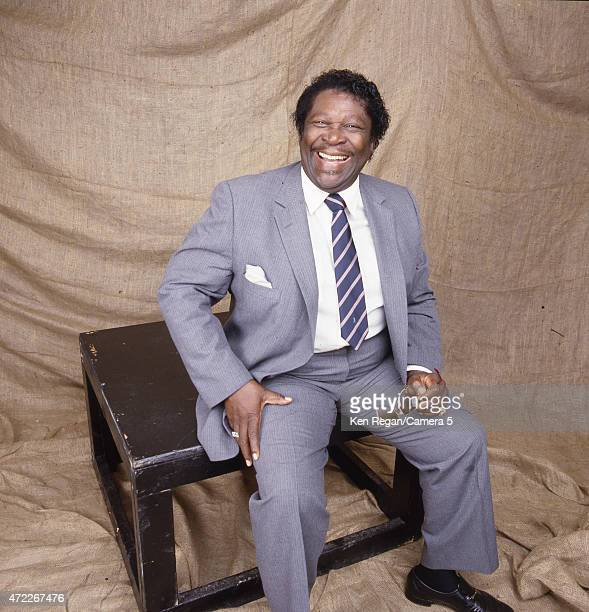 Blues musician BB King is photographed backstage at Farm Aid on September 22 1985 at Memorial Stadium on the campus of the University of Illinois in...