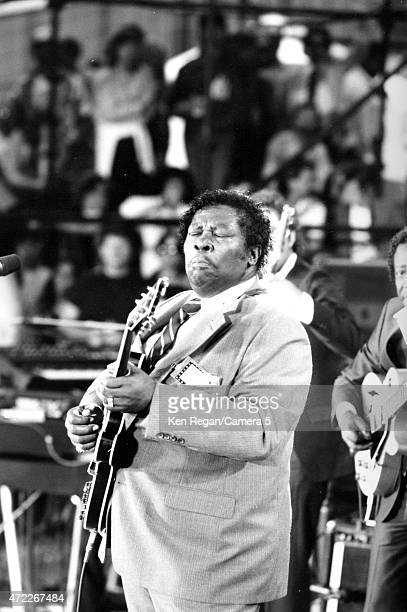 Blues musician BB King is photographed onstage at Farm Aid on September 22, 1985 at Memorial Stadium on the campus of the University of Illinois in...