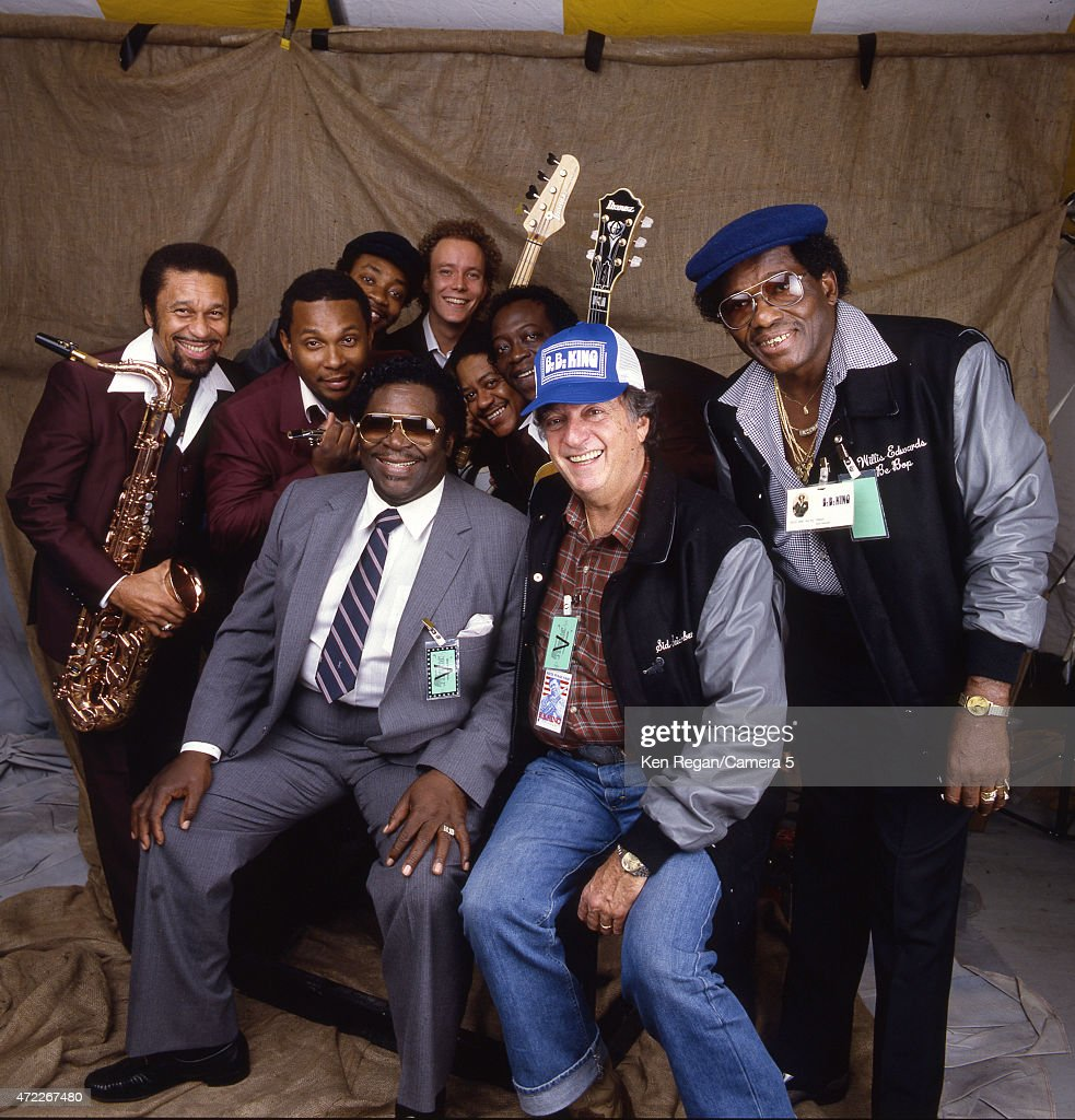 Blues musician BB King is photographed with his band backstage at Farm Aid on September 22, 1985 at Memorial Stadium on the campus of the University of Illinois in Champaign, Illinois.