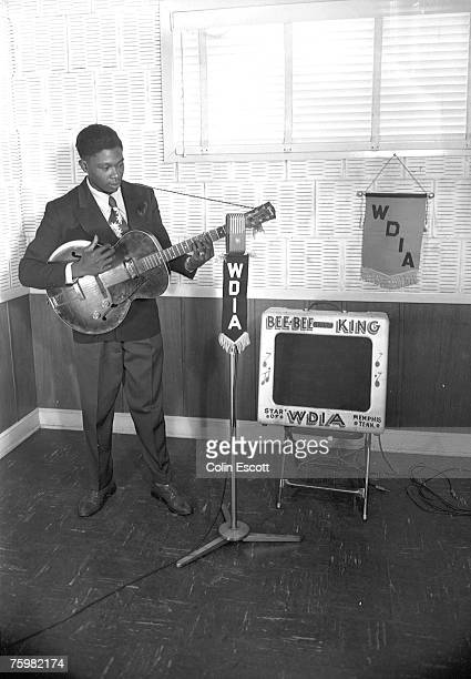 Blues Musician BB King performs on the radio station WDIA in 1948 in Memphis Tennessee
