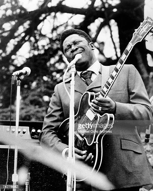 Blues musician BB King performs onstage with Lucille his hollowbody Gibson electric guitar in circa 1970