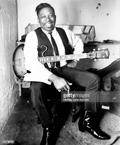 Blues musician BB King poses for a Bluesway Records portrait with his Lucille model Gibson hollowbody electric guitar in circa 1969