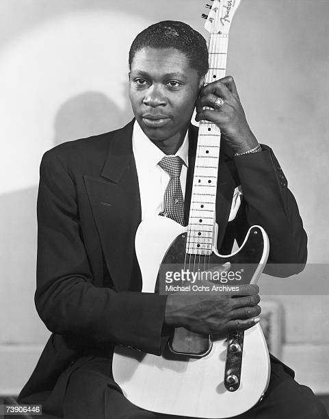 Blues musician BB King poses for a portrait holding a Fender Esquire guitar in 1949 in Memphis Tennessee