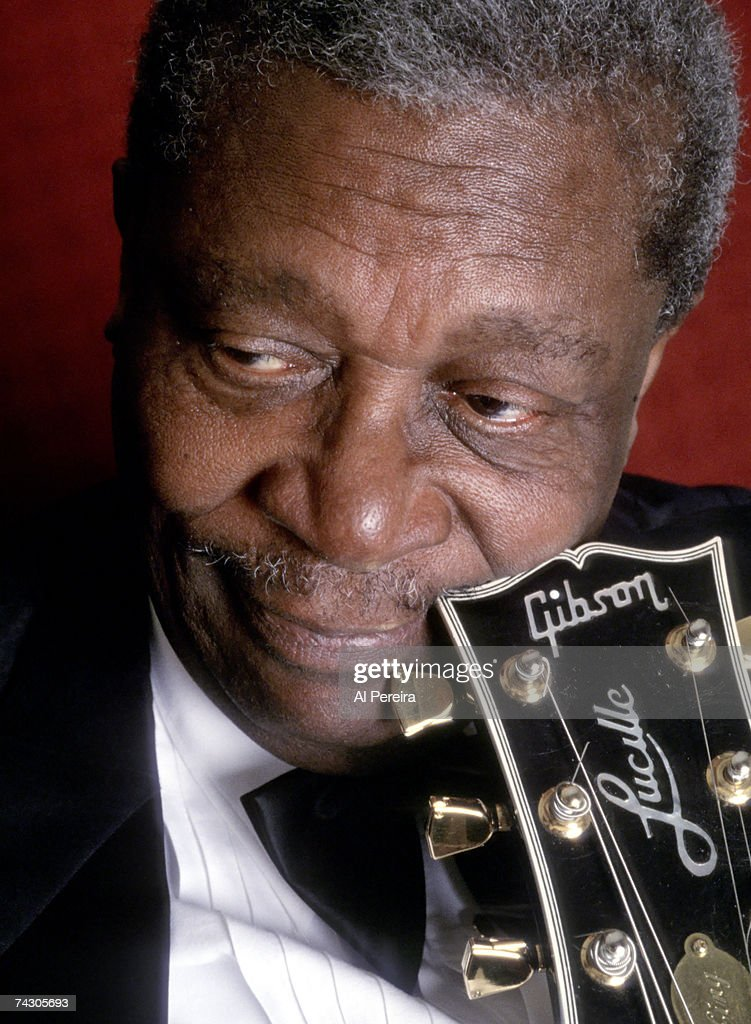 Blues musician BB King poses for a portrait session with his Gibson hollowbody electric guitar nicknamed 'Lucille' in 1995.