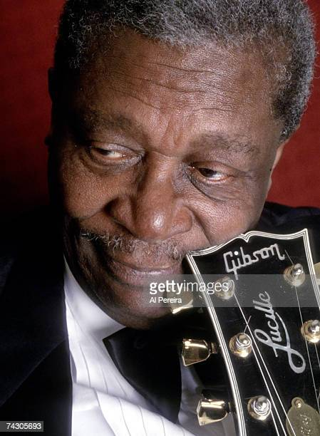 Blues musician BB King poses for a portrait session with his Gibson hollowbody electric guitar nicknamed Lucille in 1995