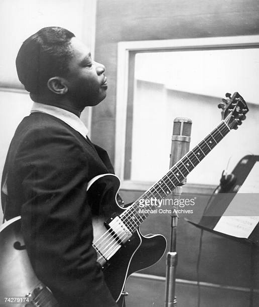 Blues musician BB King records in the studio with his Lucille model Gibson hollowbody electric guitar in circa 1960