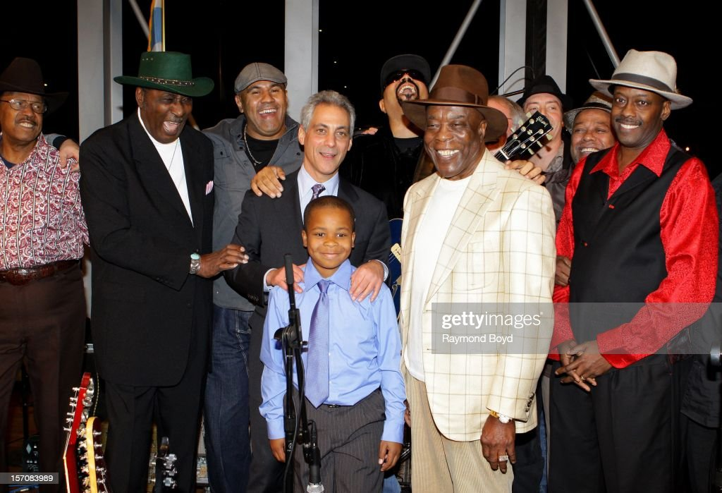Blues musician Buddy Guy(2nd right), poses for photos with Lonnie Brooks, Eddy Clearwater, Ronnie Brooks, Chicago Mayor Rahm Emanuel, Peyton McDowell, and Fernando Jones during a celebration honoring his Kennedy Center Honor at the Pritzker Pavilion in Chicago, Illinois on NOVEMBER