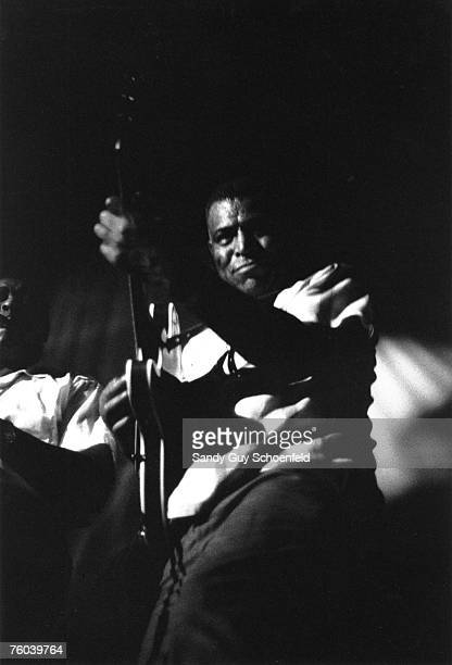 Blues musician Howlin' Wolf performs onstage at the Avalon Ballroom, a music venue in the Polk Gulch neighborhood, with saxophone player Willie...