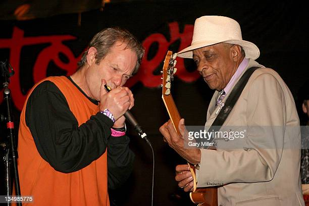 Blues musician Hubert Sumlin seen here performing with Mick Jagger's brother Chris Jagger at Antone's on October 22 2006 in Austin Texas died on...