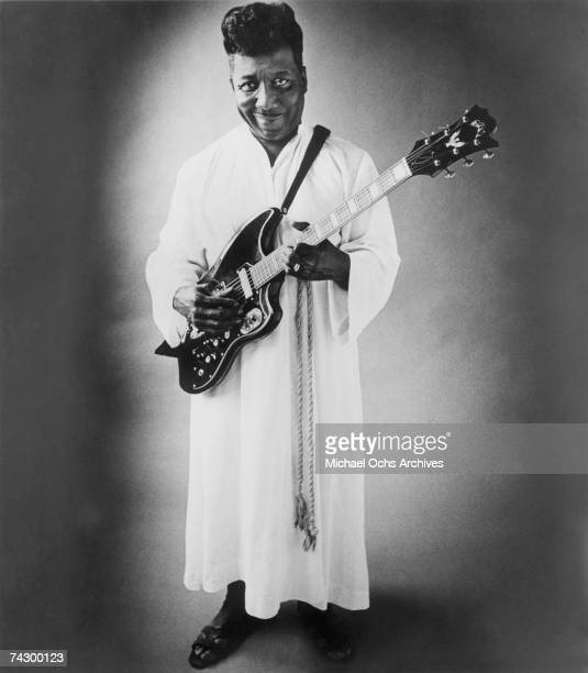 Blues musician Muddy Waters poses for a portrait used on his psychedelic blues album 'Electric Mud' in 1968 in Chicago Illinois